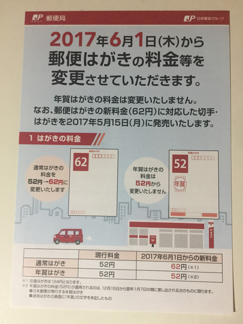 【2017年6月改定】定型外郵便物の新料金について2